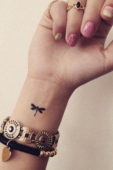 dragonflies small tattoo on wrist