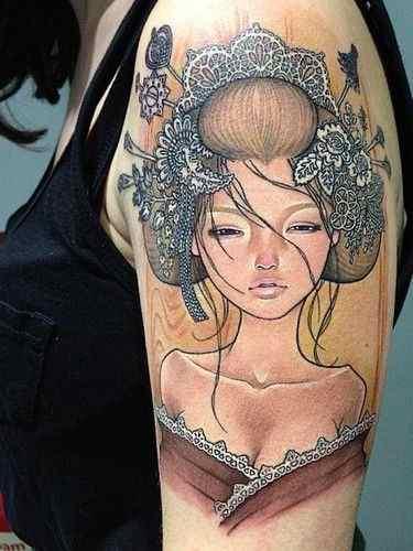 Japanese pin up girl tattoo
