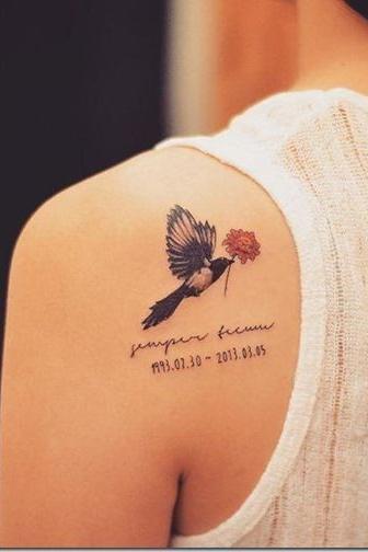 Small Back Shoulder birds Tattoos for girls