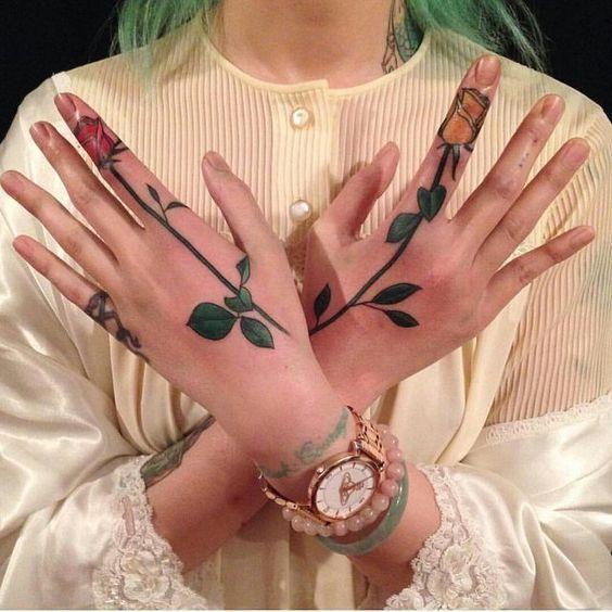 follower tattoo on hand for girls