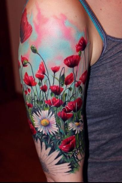 female arm sleeve follower tattoos