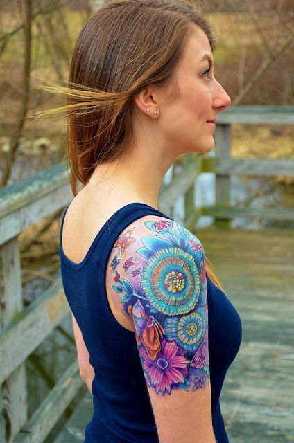 colorful tattoo design for girls on arm