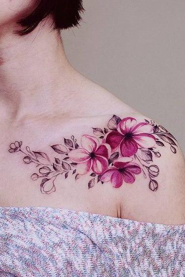 beautiful flower shoulder tattoo color