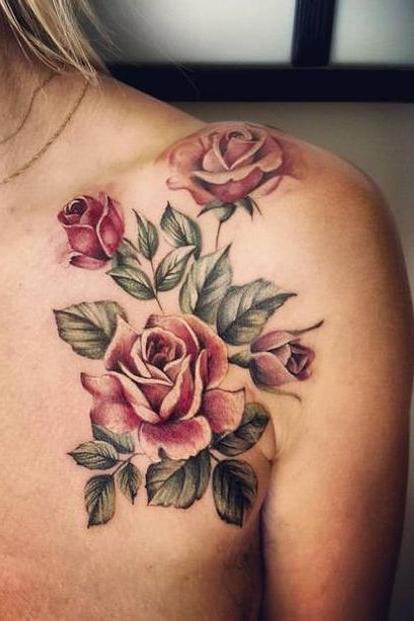colorful flower shoulder tattoo