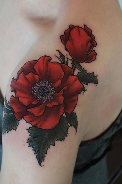 red rose colorful shoulder tattoo