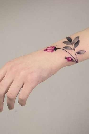 flower wrist tattoo for women