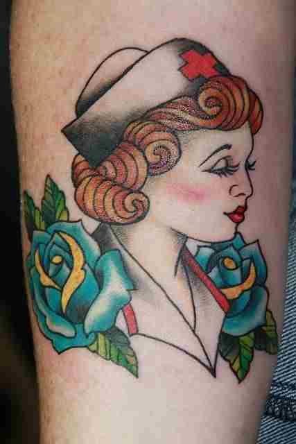 nurse pin up tattoo style