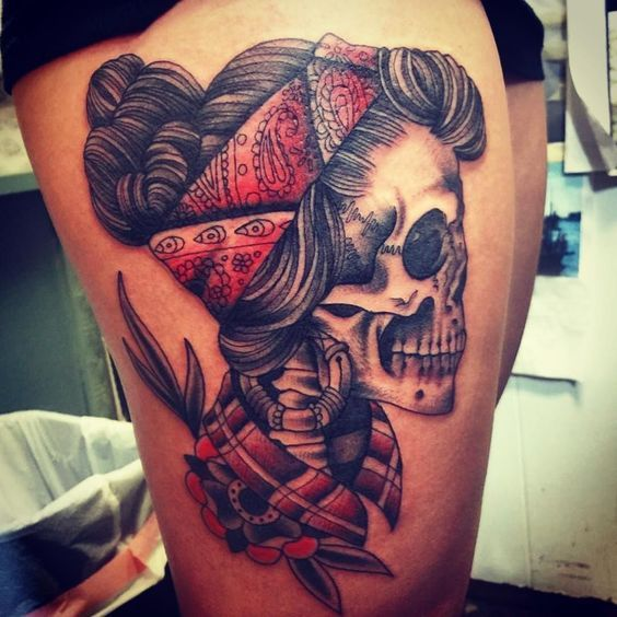 pin up skull tattoo