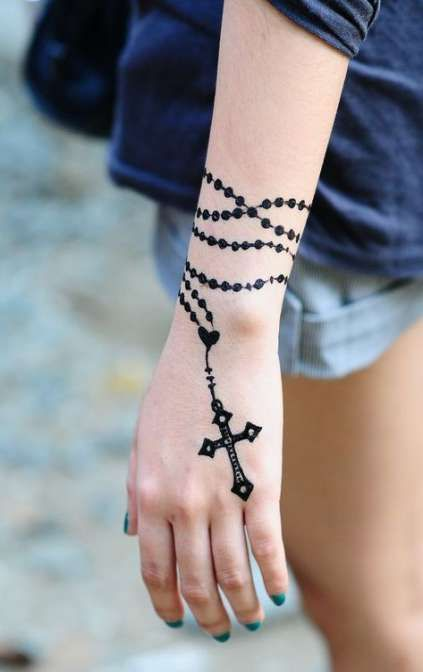 rosary tattoo on wrist for girls