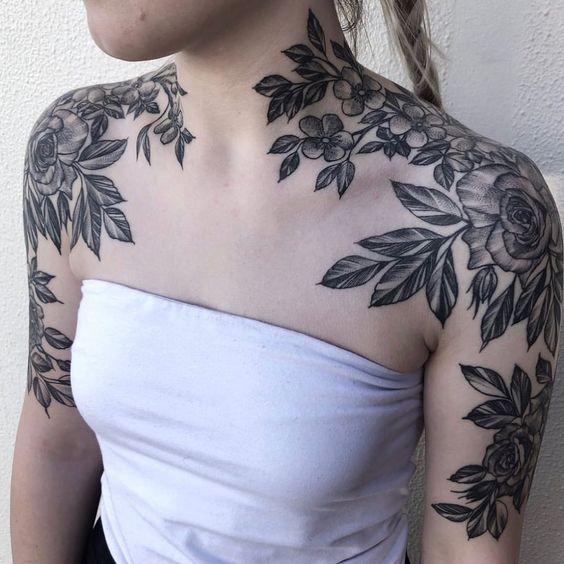 both shoulder tattoos flowers