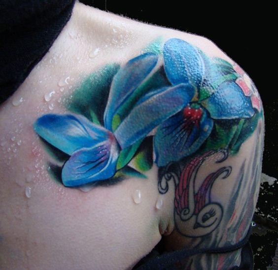 blue shoulder tattoos flowers