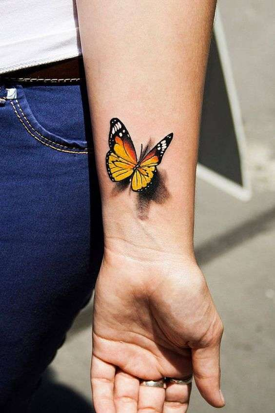 beautiful butterfly wrist tattoo for females