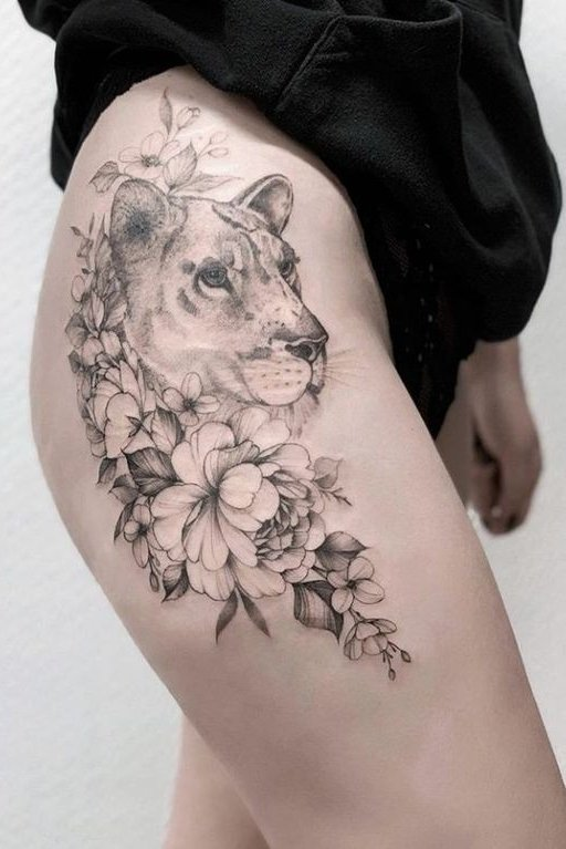 lion and flower mix thigh tattoo design for females