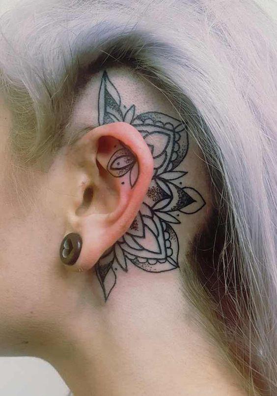 behind ear head tattoo