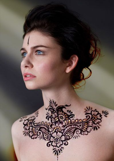 Neck + Chest Tattoos for women