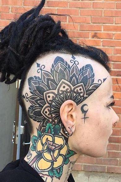 mandala head tattoo