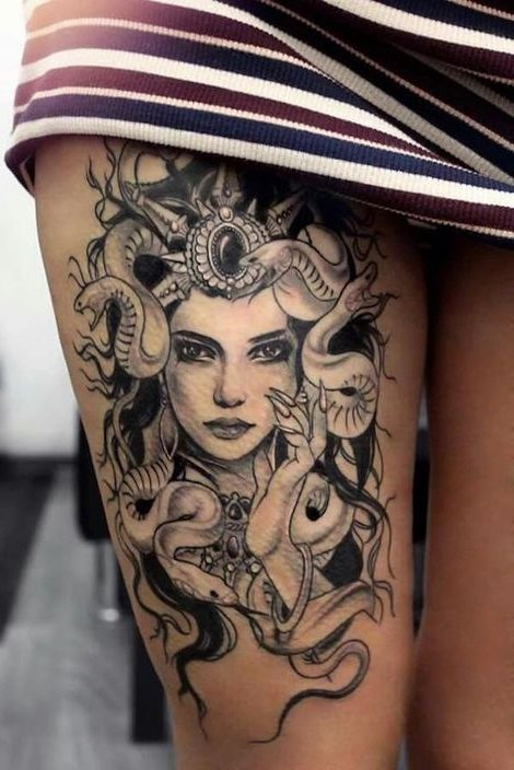 girl with snake tattoo