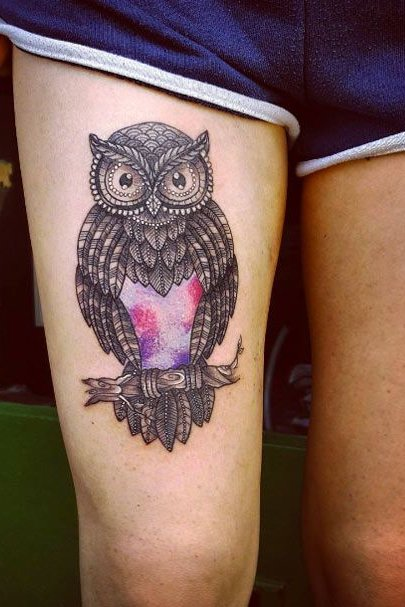 owl tattoo on thigh for women