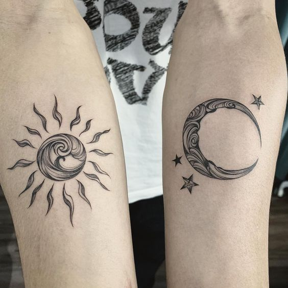 Sun and moon couple tattoos