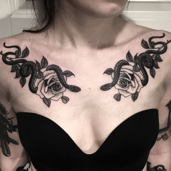 snake + Flower Chest Tattoos for women