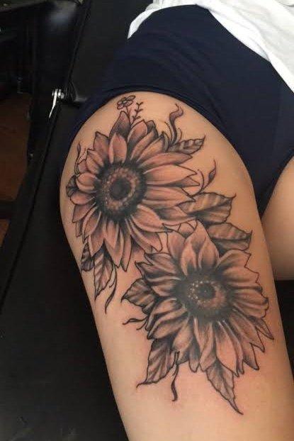 sun flower thigh tattoo design