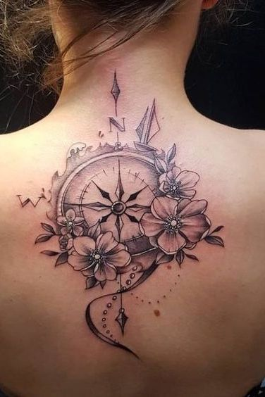back compass tattoo