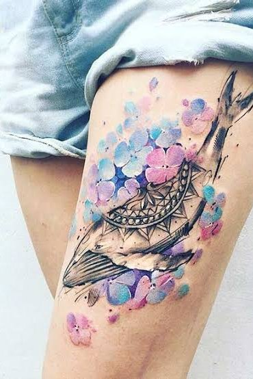 water color fish thigh tattoo