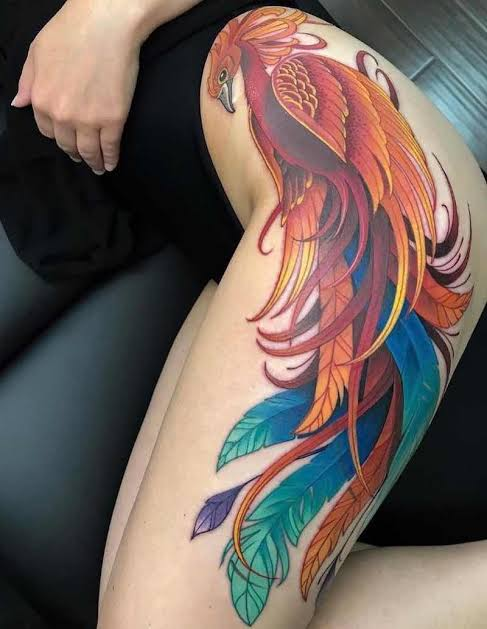 phoenix thigh tattoo design for females