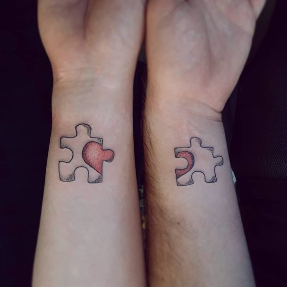 Puzzle couple tattoos