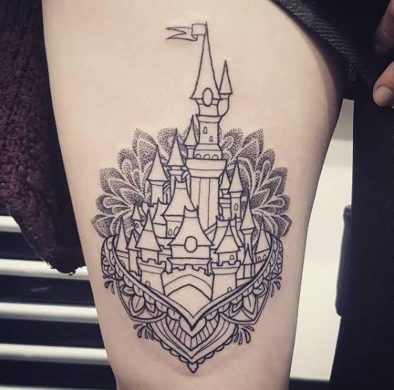 Disney thigh tattoo design
