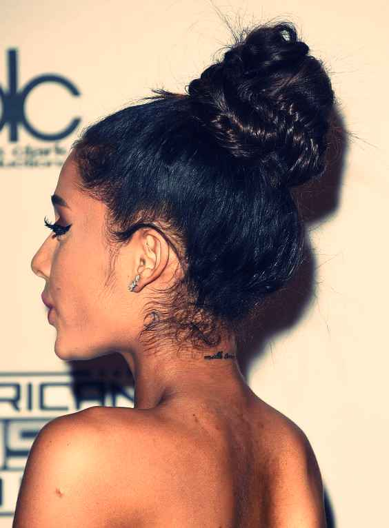 ariana grande back neck tattoos