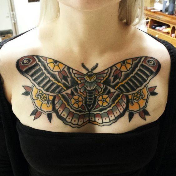 butterfly chest tattoos for female