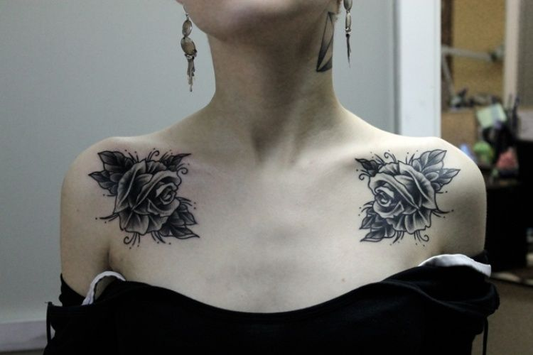 collar bone rose chest tattoos for women