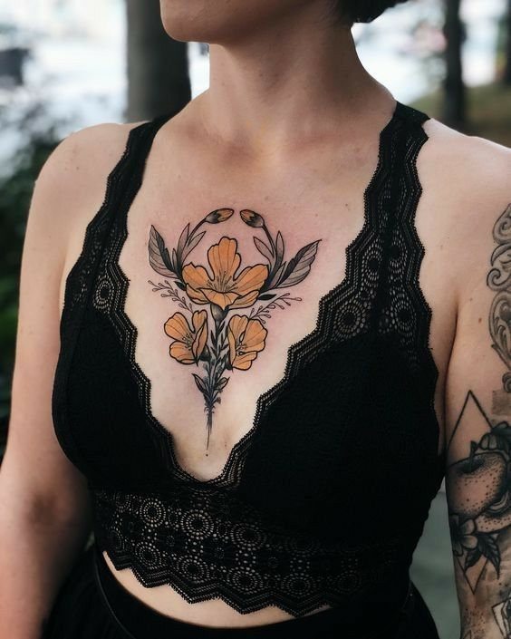 flower chest tattoos for female