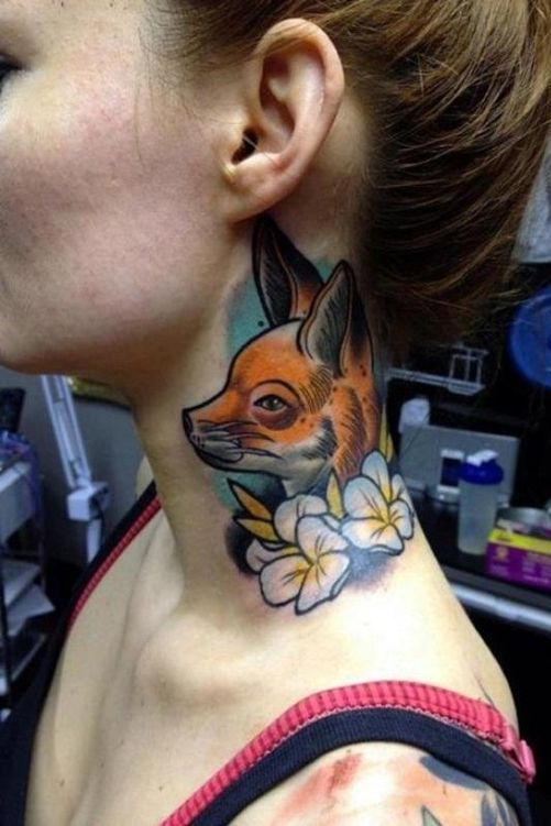 attractive fox tattoo on neck for females