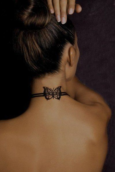 butterfly back neck tattoo design