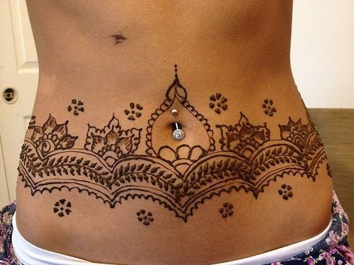 Henna Stomach Tattoo for Women