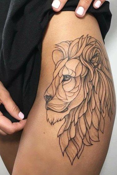 Lion Tattoo on THigh
