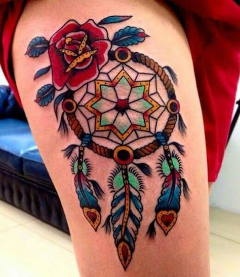 colorful dream catcher tattoo on thigh