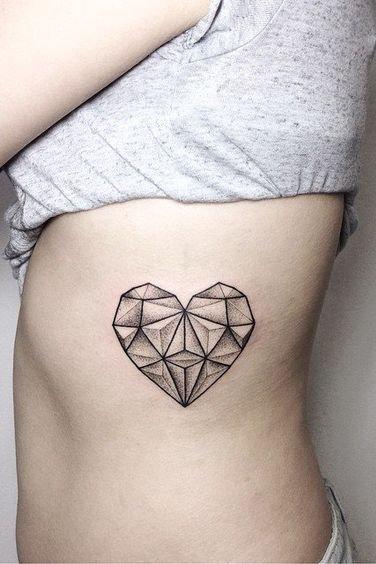 diamond heart geometric tattoo on rib cage