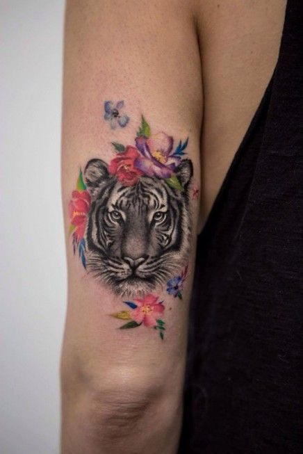 Tiger Face with Flowers Tattoo on Arm