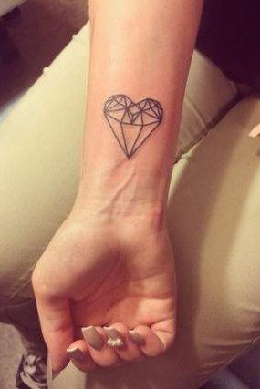 diamond heart tattoo on wrist