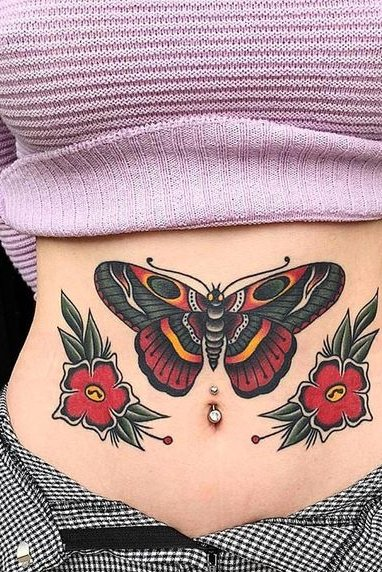 Flower and Butterfly Tattoo on Stomach