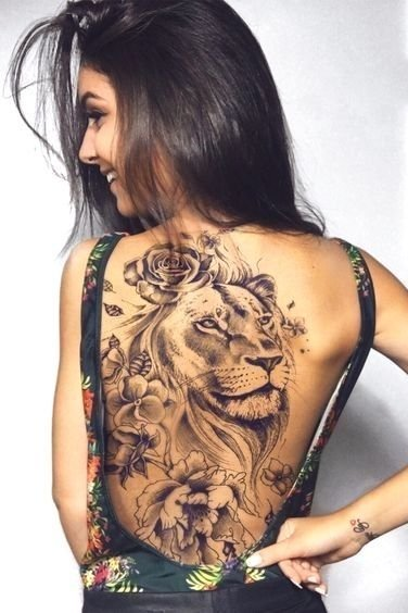 Back Lion Tattoo for Females