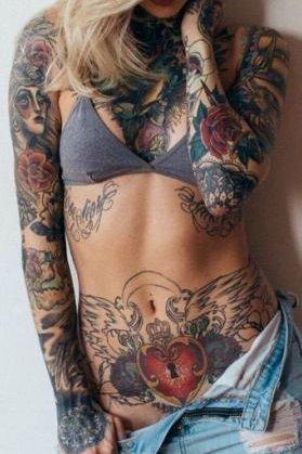 Mix Tattoo on stomach