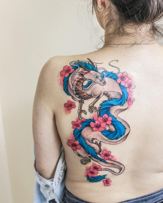 fantasy dragon tattoo on back