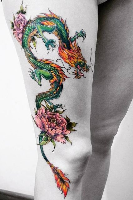 thigh colorful dragon tattoo