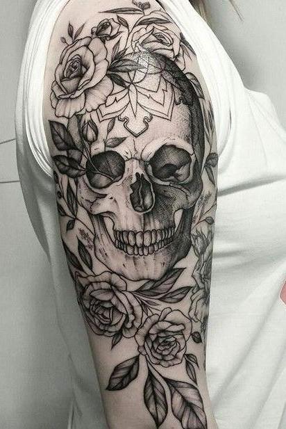 on shoulder skull tattoo