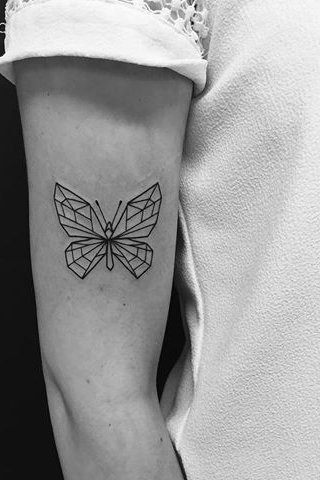 butterfly geometric tattoo for female