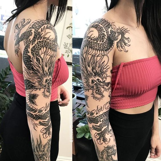 arm dragon tattoo